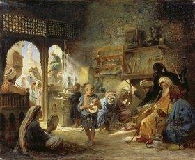 Konstantin Jegor Makovskij: Kaffeehaus in Kairo
