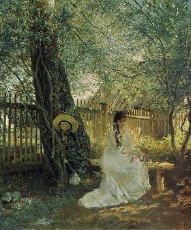 Konstantin Jegor Makovskij: Träumerische Dame auf der Gartenbank. 1870-er Jahre