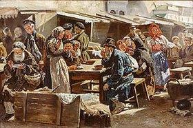 Wladimir J Makovskij: Mittagessen auf dem Jahrmarkt