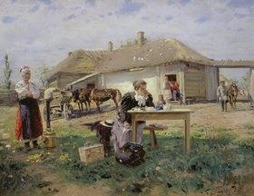 Wladimir J Makovskij: Die Ankunft der Lehrerin auf dem Lande