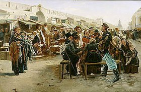 Wladimir J Makovskij: Mittags auf dem Jahrmarkt