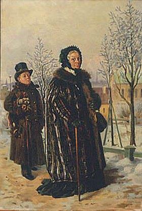 Wladimir J Makovskij: Vornehme Dame mit Diener beim Spaziergang