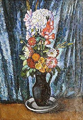 Ilja Iwanowitsch Maschkoff: Blumenstrauss in schwarzem Krug vor blauem Hintergrund