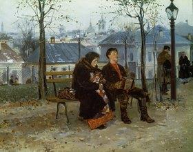 Wladimir J Makovskij: Harmonikaspieler am Boulevard in Paris