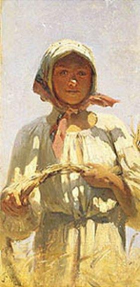 Grigorij G Mjasojedow: Bauernmädchen bei der Kornernte