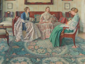 Nikolai Filippovich Petrov: Drei Damen in einem vornehmen Interieur
