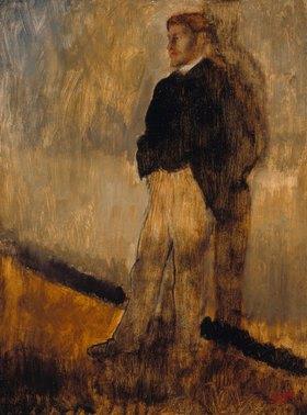 Edgar Degas: Bildnis eines stehenden Mannes mit den Händen in den Hosentaschen
