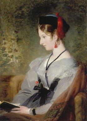 Sir Edwin Henry Landseer: Bildnis von Elizabeth Wells (spätere Lady Dyke) in grauem Kleid mit Buch