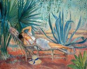 Henri Lebasque: Marthe schlafend im Liegestuhl in Saint-Tropez