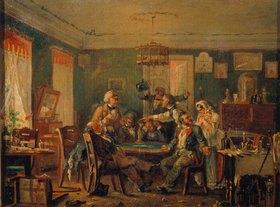 Nikolai Petrowitsch Petrow: Gesellschaft beim Kartenspiel. 1850er Jahre