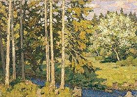 Pjotr Petrowitschev: Tannen und blühender Apfelbaum im Mai