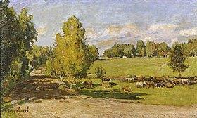 Pjotr Petrowitschev: Viehherde in grüner Weidelandschaft