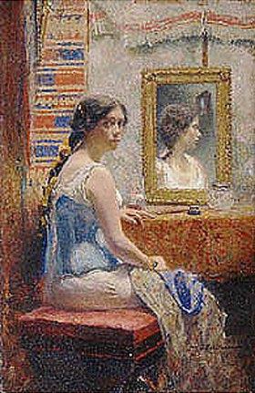 Iwan Pawlowitsch Pochitonow: Junge Frau mit Spiegelbild. 1890-er Jahre