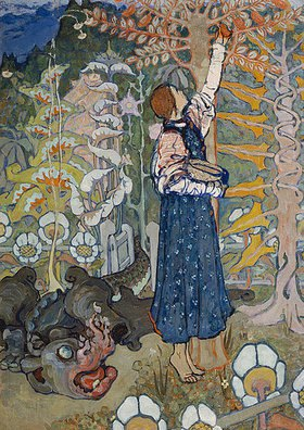 Elena Dmitriewna Polenova: Märchenillustration: ein Drache und ein Mädchen