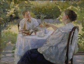 Lukian Wassiljewitsch Popov: Beim Tee trinken im Garten