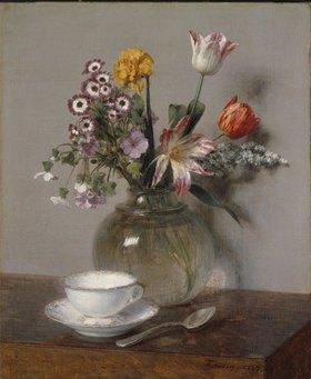 Henri de Fantin-Latour: Stillleben mit Blumenvase und Kaffeetasse