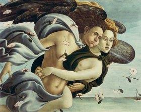 """Sandro Botticelli: Detail aus dem Gemälde """"die Geburt der Venus"""": Zephir und Aura"""