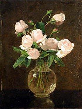 Otto Franz Scholderer: Stillleben mit Rosen in einer bauchigen Glasvase