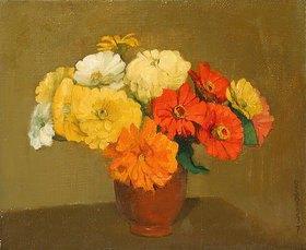Ottilie Roederstein: Stillleben mit Zinnien in einer Vase