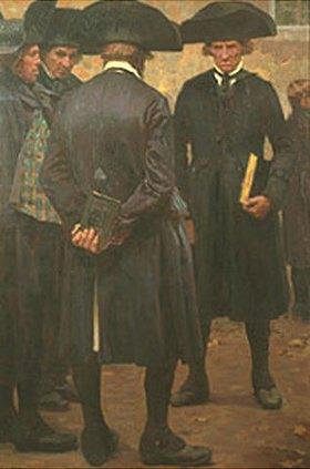 Carl Ludwig Noah Bantzer: Männer vor der Kirche