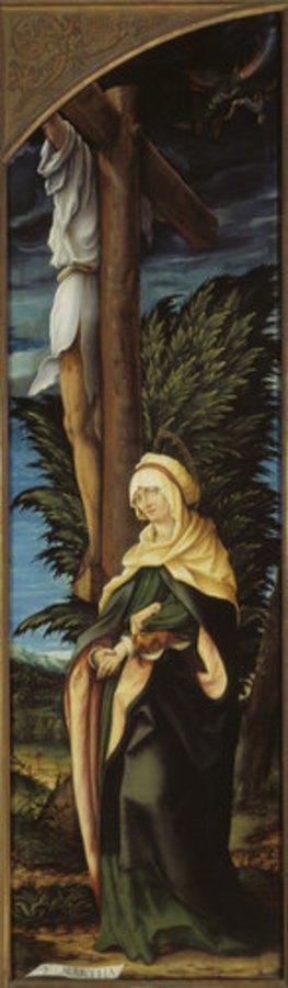 Hans Burgkmair d.Ä.: Kreuzigungs-Altar, re.Flügel innen: Der unbußfertige Schächer und die Hl. Martha