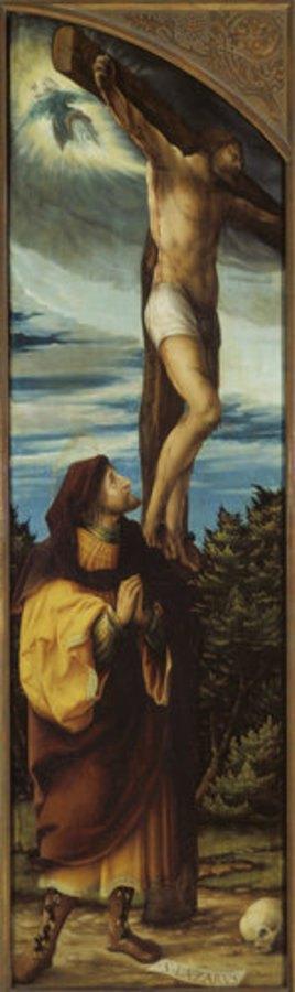 Hans Burgkmair d.Ä.: Kreuzigungs-Altar, Li.Flügel innen: Der bußfertige Schächer und der Hl. Lazarus