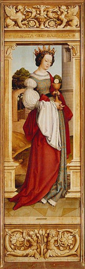 Hans Holbein d.Ä.: Sebastiansaltar. 1516. Li.Flügel innen: Die heilige Barbara