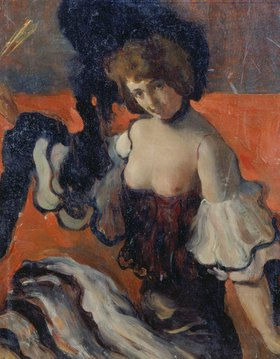 Leon Nikolajewitsch Bakst: Im Restaurant. Dame mit weit ausgeschnittenem schwarzen Kleid. 1900-er Jahre