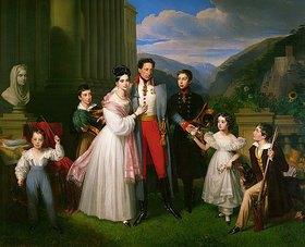 Johann Nepomuk Ender: Erzherzog Karl mit Frau Henriette von Nassau-Weilburg und Kindern vor Schloss Weilburg in Baden nahe Wien