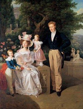 Ferdinand Georg Waldmüller: Die Familie Neuhaus. Legationsrat Ritter von Neuhaus (um1770-1855) mit Frau u.K