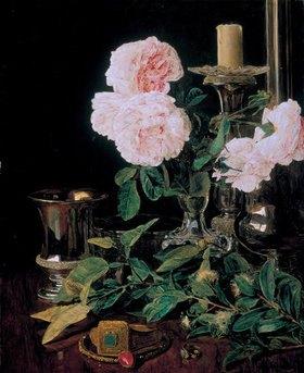 Ferdinand Georg Waldmüller: Rosen, Myrthen und Orangenzweige auf der Toilette einer Braut
