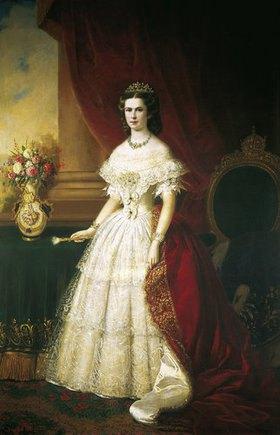 14. Jahrhundert Île-de-France Französisch: Kaiserin Elisabeth von Österreich (Sissi) in weissem Spitzenkleid