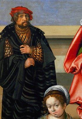 Lucas Cranach d.Ä.: Die Hl. Verwandtschaft (Detail mit Selbstbildnis und Bild seiner Frau)