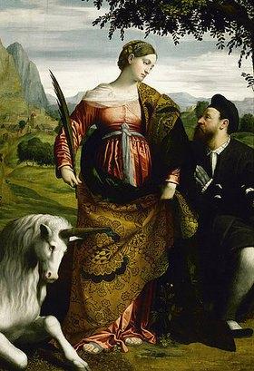 Moretto da Brescia (Alessandro Bonvicino): Die Hl. Justina mit einem Einhorn, wird von einem Stifter verehrt