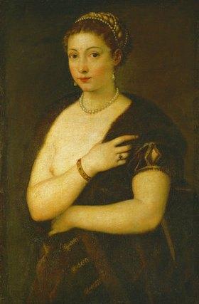 Tizian (Tiziano Vecellio): Junge Frau mit Pelz