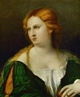 Palma Vecchio(Jacopo Negretti): Junge Frau in grünem Kleid mit einer Schachtel in der Hand