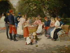 Louis Uhl: Kindermädchen im Park