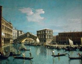 Canaletto (Giovanni Antonio Canal): Die Rialtobrücke in Venedig mit Gondolieren im Vordergrund