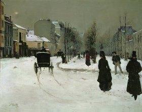 Norbert Goeneutte: Der Boulevard Clichy in Paris im Schnee