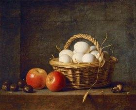 Henri Roland de la Porte: Zwei Äpfel und ein Korb mit Eiern