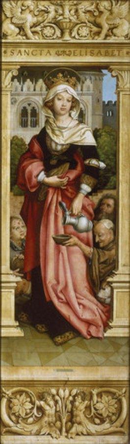 Hans Holbein d.Ä.: Sebastiansaltar. 1516. Re.Flügel innen: Die hl.Elisabeth mit drei Bettlern