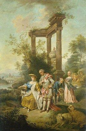 Hermann Philipp Junker: Die Familie Goethe im Schäferkostüm. (Kopie nach J.C. Seekatz)