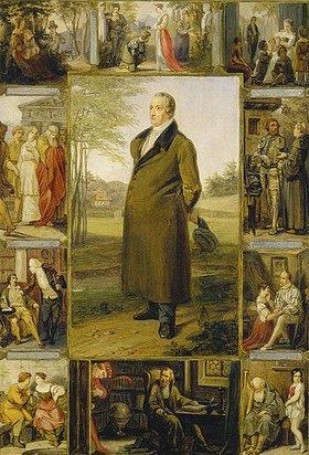 Moritz Daniel Oppenheim: Johann Wolfgang von Goethe, umgeben von seinen Werken