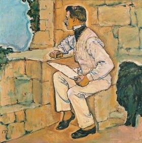 Koloman Moser: Selbstbildnis. Der Künstler auf einem Mauervorsprung sitzend