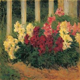 Koloman Moser: Blumenstrauch vor einem Gartenzaun