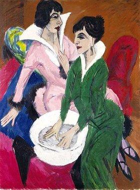 Ernst Ludwig Kirchner: Zwei Frauen mit Waschbecken (Die Schwestern)
