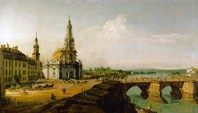 Bernardo (Canaletto) Bellotto: Dresden, Blick vom rechten Elbe-Ufer oberhalb des Altstädter Brückenkopfes