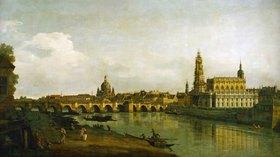 Bernardo (Canaletto) Bellotto: Dresden, Blick vom rechten Elbe-Ufer mit Augustusbrücke