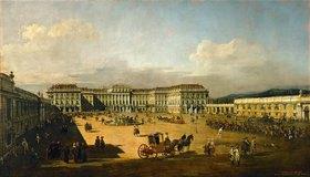 Bernardo (Canaletto) Bellotto: Schloss Schönbrunn mit Ankunft eines Kuriers von der Schlacht von Kunersdorf