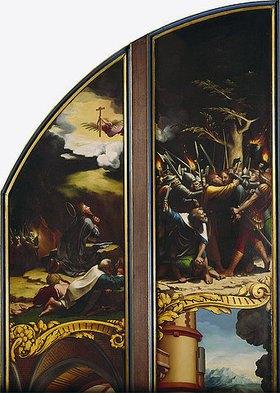 Hans Holbein d.J.: Flügelaltar mit acht Bildern aus der Passion Christi, Detail: Gebet am Ölberg und Der Judaskuss (siehe auch Bildnummer 10725)